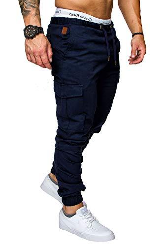 REPUBLIX Herren Cargo Jogger Chino Hose Pants Mit Stretch R0701 Navyblau W38