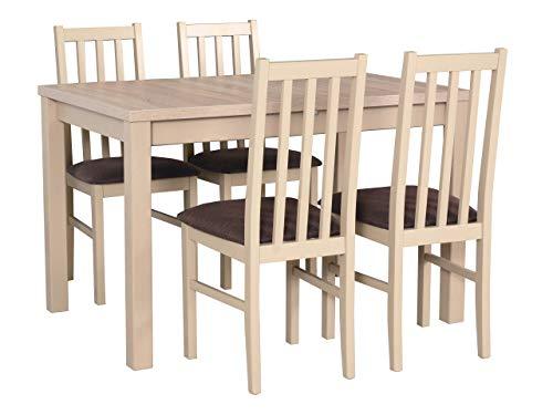 Mirjan24 Esstisch mit 4 Stühlen DM15, Esstischgruppe, Tischgruppe, Sitzgruppe, Esszimmer Set, Esszimmergarnitur, Esstisch Stuhlset, DMXZ (Sonoma/Sonoma Inari 24)