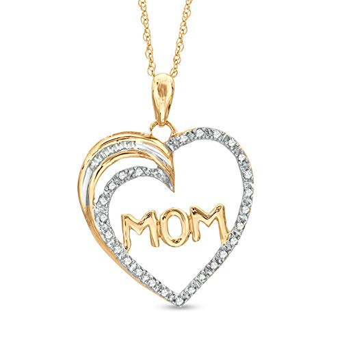 1/3 CT. T.W. Round & Baguette Cut D/VVS1 Diamond'MOM' Heart Pendant 18' In 10K Yellow Gold Plated 925 Silver