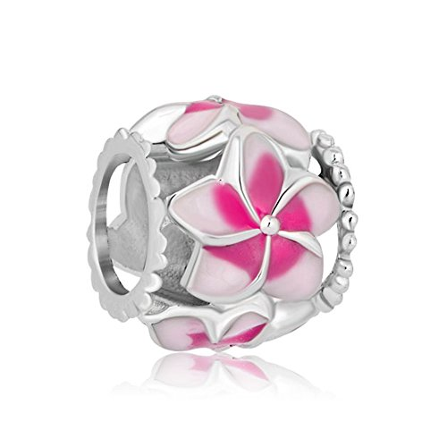 CharmSStory Filigree Orchid Flower Love Enamel Charm Beads Charms for Bracelets (Pink)