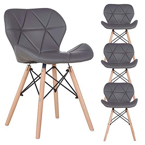 N A to Muebles Home - Set di 4 sedie da sala da pranzo in stile retrò e moderno, con schienale curvo in ecopelle per sala da pranzo e cucina