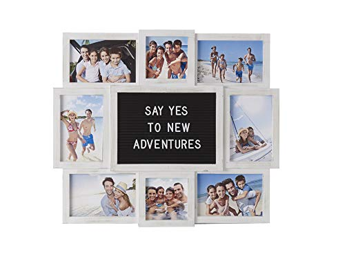MELANNCO Customizable Letterboard 8-Opening Photo Collage, 19 x 17 inch, Distressed White