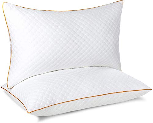 Maxzzz Cuscini in bambù per Dormire, 2 Confezioni di Cuscini in Fibra Alternativa in Piuma, ipoallergenici, Standard con federe Lavabili e Traspiranti (42 x 70 cm)