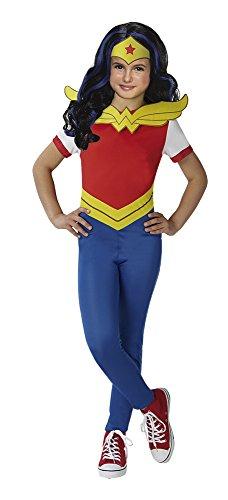 DC Comics - Disfraz de Wonder Woman para niña, incluye peluca - infantil 7-8 años (Rubie's 630575-L)