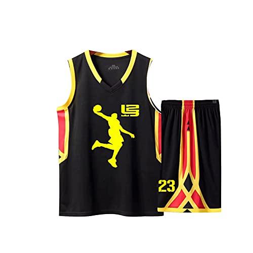 YDHZ Búlll Jordán 23# Jersey de Baloncesto para Hombres, Camiseta de Manga de Media Malla Bordada, Ropa Deportiva de 2 Piezas Black-M