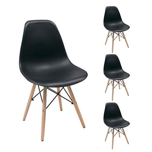 Homely - Juego de 4 sillas de Comedor MAX Tower inspiración Silla Tower - Negro