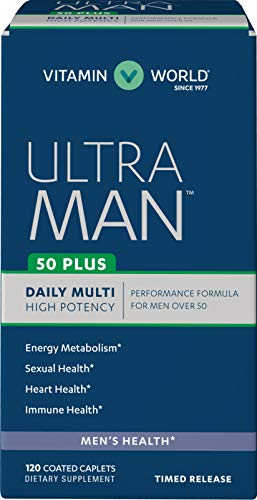 Vitamin World Ultra Man 50 Plus Daily Multivitamin | Feat. Zinc, Flaxseed, Amino Acids, Vitamins B6, B12, C, E, & Folic Acid | Health & Wellness Multi-Supplement for Men Over 50, 120 Caplets
