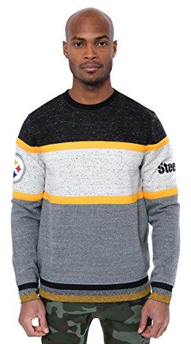 Ultra Game NFL Pittsburgh Steelers Mens Fleece Sweatshirt Long Sleeve Shirt Block Stripe, Team Color, Small