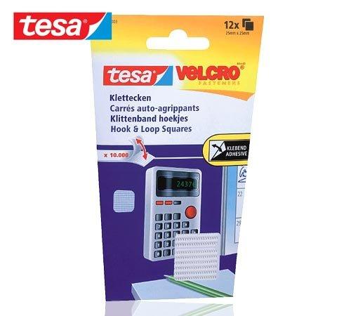 tesa VELCRO Klettecken zum Aufkleben, weiß/55227-00003-00 25mm:25mm Inh.12