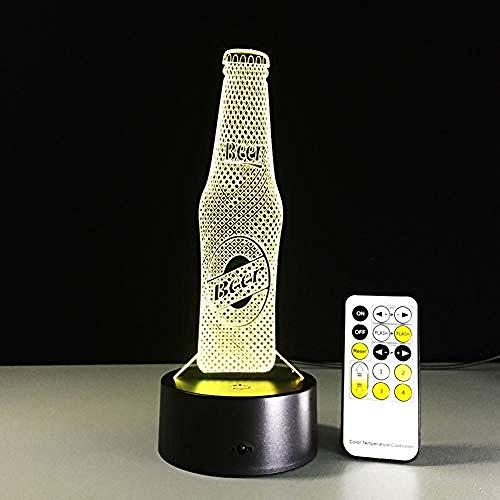LWYFADS LED-Tisch-Schreibtisch-Lampen,Nachtlicht Bierflasche Fernbedienung LED USB 3D Nachtlicht 7 Farben Illusion Tischlampe Baby Slee Sensor Licht