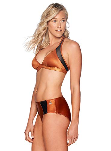 Reebok Lifestyle Women's Swimwear Copper Mesh Bra Bathing Suit Top, Copper, XL