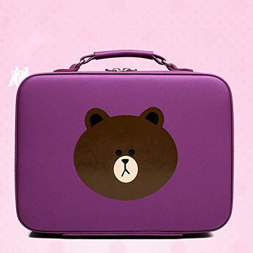 19 Version Coréenne De L'Ours Sac Cosmétique Portable Grande Capacité Sac De Rangement Simple Compact Mignon Sac Cosmétique Portable Violet 25 * 12 * 20 Cm