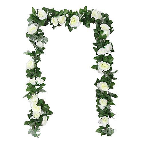 TheStriven 2 piezas de 240 cm de Vid de Rosa Artificial con Hojas Verdes Flores Falsas de Seda Guirnalda Colgante de Hiedra Rosa para Hotel, Boda, Hogar, Fiesta, Jardín, Artesanía, Seda (Blanco)