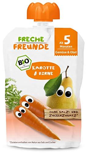 Freche Freunde Bio Beikost-Quetschie Karotte & Birne, Babynahrung ab dem 5. Monat mit Gemüse, glutenfrei & vegan, 6er Pack (6 x 100g)