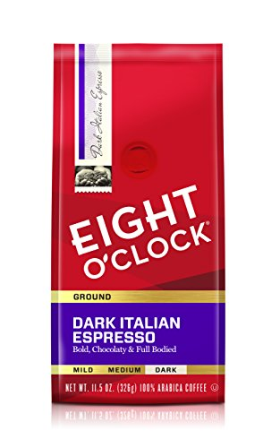 Eight O'Clock Ground Coffee, Dark Italian Espresso, 11.5 Ounce (Pack of 6)