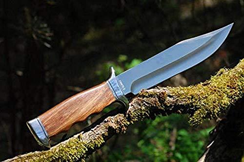 VIKING GEAR® groot survivalmes 23 cm scherp mes met schede - camping mes met houten handvat - Hunter Knife - zilver, bruin