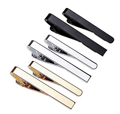 Fermacravatta da Uomo,6 Pezzi Spille Cravatta Classici da Uomo,Nero,Argento e Oro per Fermagli da Lavoro,Fermacravatta