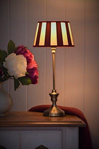 klassisch elegante Kaminleuchte/Simsleuchte/Tischlampe DEVON *rund* mit Chintzschirm (creme/bordeaux) im royalen Balkendesign nickel, leicht seidenglänzend brüniert, Höhe mit Schirm 465mm