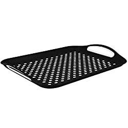 ANTI-SLIP TECHNOLOGY - The rubbered top and bottom surfaces prevent dishes or drinks from slipping or tipping over. On our serving trays you can carry with confidence anything you want. EASY TO CARRY - Our dinner trays come with ergonomic easy-grip h...