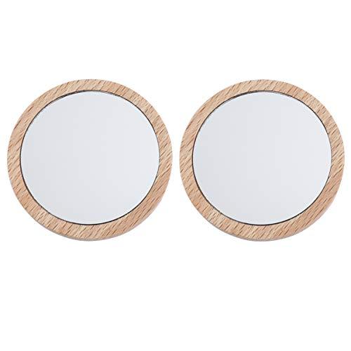 Lurrose 2pcs kompakte Spiegel kleine runde Glasspiegel Kreise Taschenspiegel tragbare Handspiegel für Frauen Geldbörse Geschenk 6,5 cm 7,5 cm