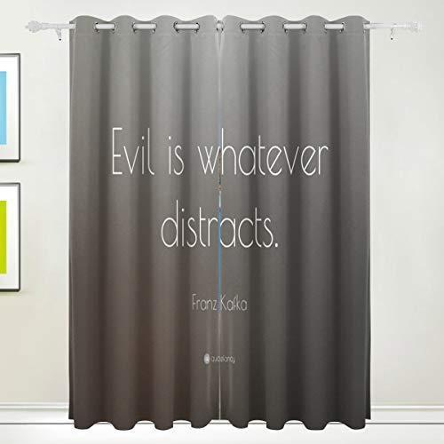 DEZIRO kwaad is wat afbreuk doet polyester venster gordijnen panelen/Drapes verduisterende venster gordijn kamer donker thermisch isoleren 2Panels Set 8Grommets per paneel 84x55in