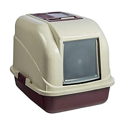 KCT Enclosed Hooded Large Cat Litter Box with Filter - Burgundy