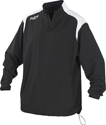 Rawlings Kids Youth Quarter Zip Long Sleeve Baseball Jacket Black Large product image