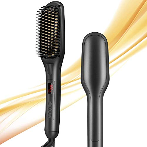 Hair Straightener Brush, Hair Straightening Brush Ceramic Ionic, 15 Temp Sets, Anti-Scald, Auto-Off, LED Indicator,110V-240V, Hot Brush Hair Straightener for Quick and Professional Hair Salon at Home