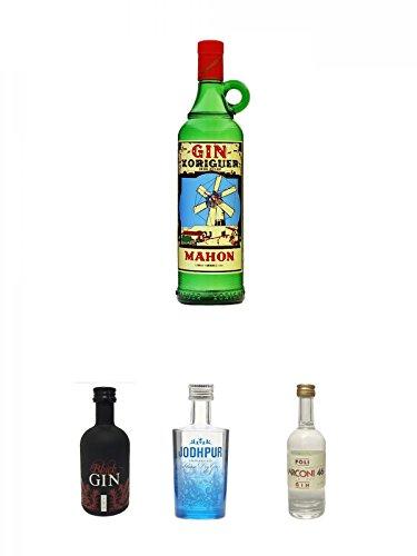 Gin Xoriguer Mahon Gin 0,7 Liter + Gansloser Black Gin Distillers Cut Deutschland 0,05 Liter Miniatur + Jodhpur Premium London Dry Gin England 0,05 Liter MINI + Poli Marconi 46 Gin 0,05 Liter Mini