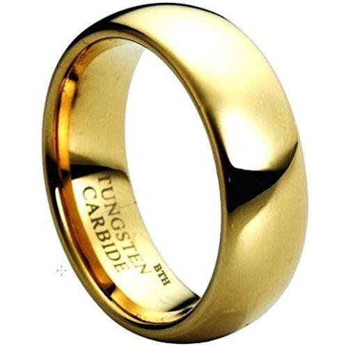Tungsten 8mm Gold IP Tungsten Carbide Comfort Fit Wedding Engagement Band Ring R