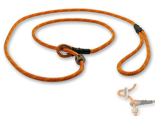 Mystique® Field trial Moxonleine Retrieverleine 6mm 150cm mit Zugbegrenzung orange / rot