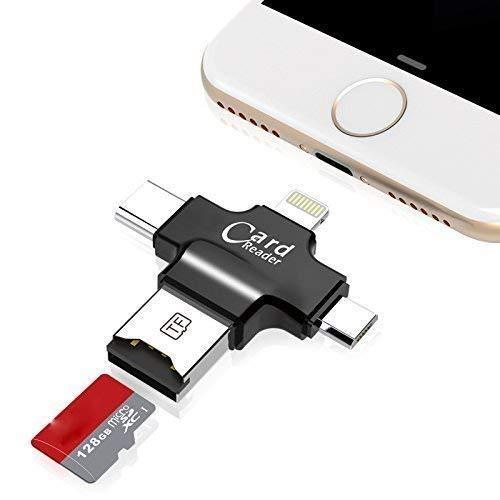 TaoMorall SD Card Reader, 4 in 1 TF/SD Kartenleser USB Kartenlesegerät Kompatibel mit Alle Smartphones Android Typ C Phones Mit OTG-Funktion/Mac/PC (Schwarz)