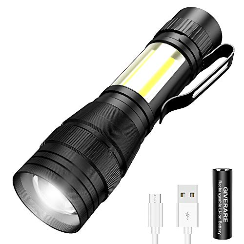 GIVERARE Tactical LED Flashlight, USB Rechargeable (Battery&USB Cable Included) Flashlights, Mini Super...