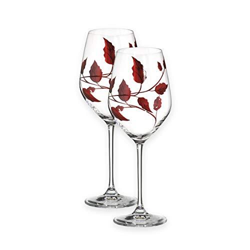 Par de Copas de Vino Rojas y Blancas de Calidad con diseño de Hoja de rubí para soplar la Boca, Cristal Decorado a Mano, Ideal como Regalo de Bodas de rubí de 23,5 cm
