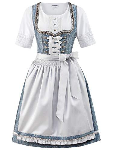 Stockerpoint Damen Lunetta Dirndl, Mehrfarbig (Blau-Hellgrau Blau-Hellgrau), (Herstellergröße: 42)