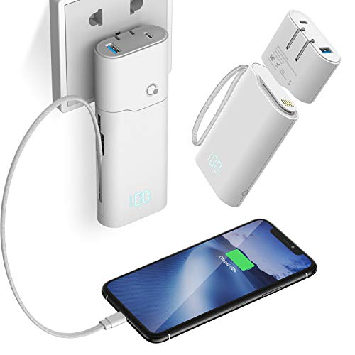 Q Power Bank 10000mAh,Quick Charge USB C High-Speed Portable Charger,PD18W Five Output Dual Input External Battery Pack with Built in Cable USB Wall Charger AC Plug Compatible with iOS & Android