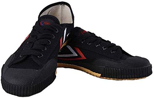 YURU Zapatos Kung Fu Tradicionales Artes Marciales Zapatos Tai Chi Wu Shu Zapatillas Deportivas Unisex Transpirables Y Antideslizantes para Hombres Mujeres Niños,Black-35