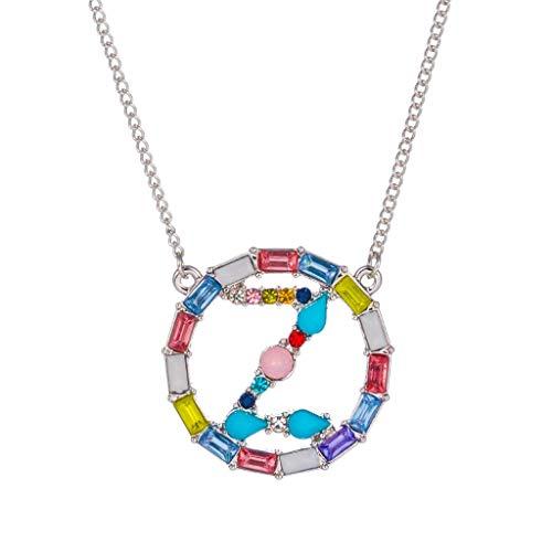 Damenschmuck Ketten 26 Buchstaben Anfangsbuchstaben Anhänger mit Tag Halskette für Damen Frauen Mädchen Anhängerschlaufe anpassbar Halskette Pendant Modeschmuck Geschenk
