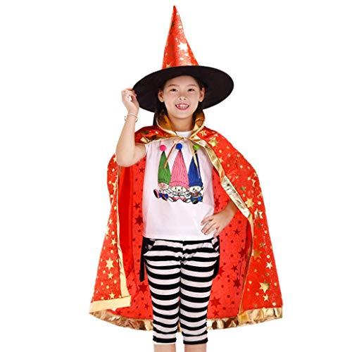 Sombrero de Brujo de Halloween,Infantil Capa de Halloween con Sombrero de Mago para Niños Niña Disfraz de Cosplay Fiesta Estilo de Estrella Rojo