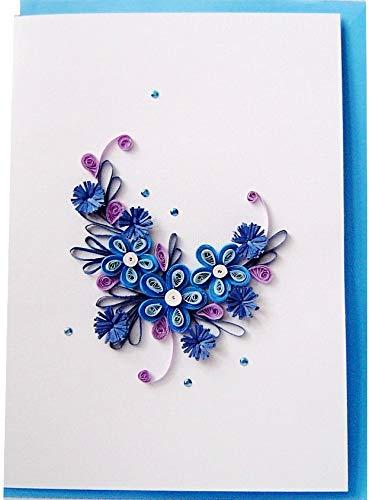 Quilling 3d Grußkarte handgemachte Karte, Motiv: Blumen blau