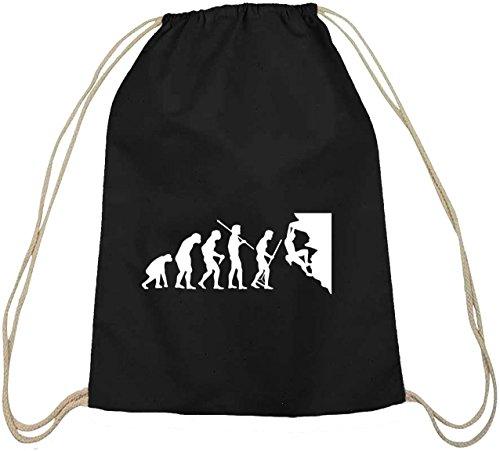 Shirtstreet24, EVOLUTION CLIMBER, klettern Baumwoll natur Turnbeutel Rucksack Sport Beutel, Größe: onesize,schwarz natur