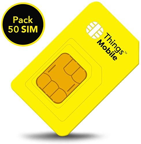 Packung 50 Prepaid SIM-Karte Things Mobile für IOT und M2M mit weltweiter Netzabdeckung. Ideal für Domotik, GPS Tracker, Telemetrie, Alarme, Smart City, Automotive. Kredit nicht inbegriffen