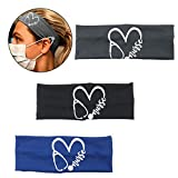 3 Pack Headbands with Buttons, Face Cover Holder, Reduce Ear Pain, Elastic Hair Bands for Women Yoga, Running, Hiking, Cycling(Blue, Black, Grey)
