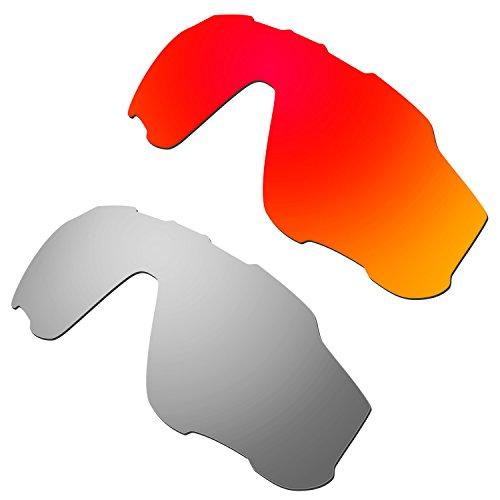 HKUCO Mens Replacement Lenses For Oakley Jawbreaker Red/Titanium Sunglasses