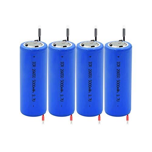 ndegdgswg Azul Icr 26650 3.7v 5000mah Batería De Iones De Litio De Litio, Celdas para Luz Led Control Remoto Mini Ventilador Linterna Led 4pieces