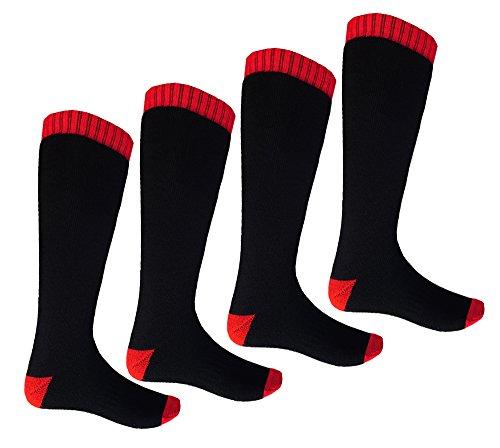 i-Smalls 4 Paires de Chaussures de Ski de Haute Double pour Femmes Chaussettes Thermiques (4-7) Black