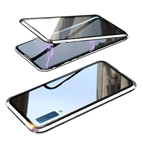 Galaxy A7 ケース/カバー A750/SM-A750C アルミバンパー クリア 透明 両面 前後 ガラス マグネット かっこいい アルミサイドバンパー サムスン ギャラクシー A7 2018/2019 落下防止 強化ガラス メタルケース マグネット