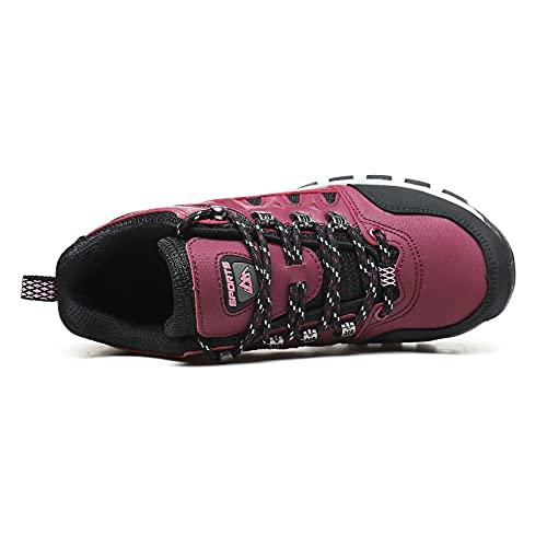 Zapatillas Trekking Mujer Zapatos Senderismo Ligeras Antideslizantes Transpirable Botas de Montaña Hombre Rojo