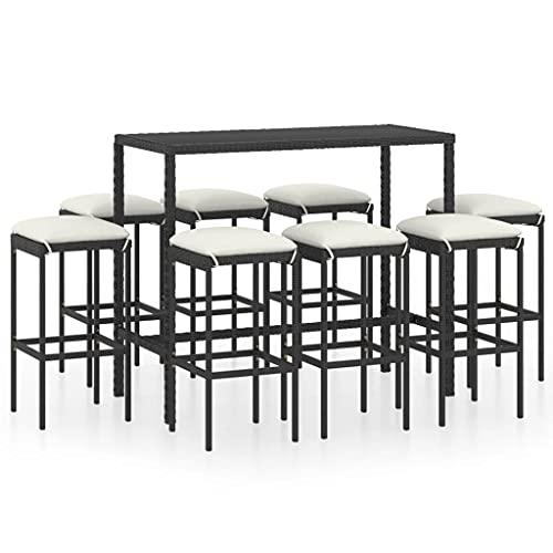 vidaXL Set da giardino da 9 pezzi, con cuscino e tavolino da bar, tavolo da bar, sgabello da bar in polyrattan nero