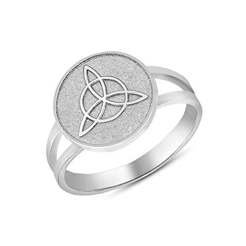 10k White Gold Split Shank Band Irish Infinity Circle Celtic Trinity Knot Disc Ring (Size 8)